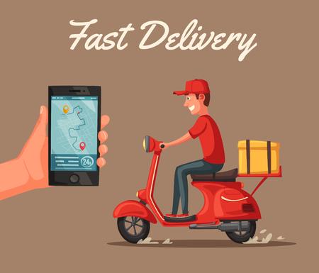 Ilustración de Fast and free delivery. Vector cartoon illustration. Vintage style. Food service. Red scooter. Retro bike. For banners and posters. - Imagen libre de derechos