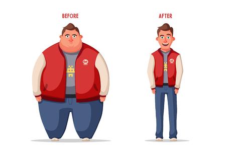 Illustrazione per Sad fat man. Obese character. Fat boy Cartoon vector illustration. - Immagini Royalty Free