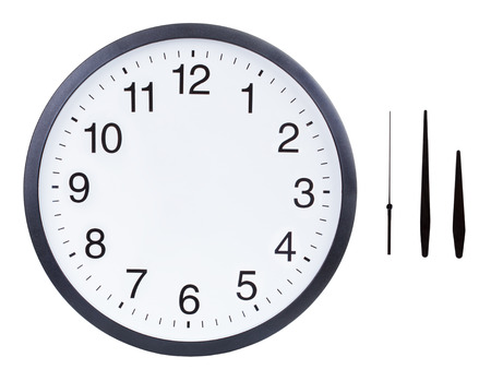 Foto de Blank clock face with hour, minute and second hands isolated on white background. Just set your own time - Imagen libre de derechos