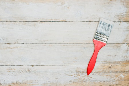 Photo for Paint brush on a wooden background. - Royalty Free Image