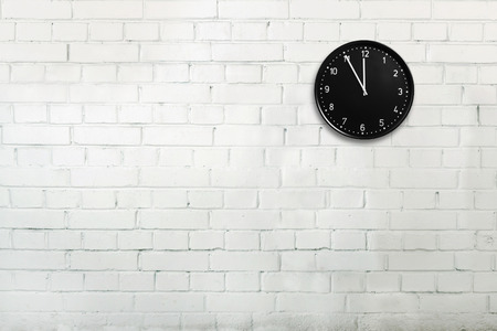 Foto de Abstract brick wall with office clock - Imagen libre de derechos