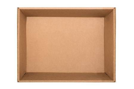 Foto de Empty cardboard box isolated on white background. Top view - Imagen libre de derechos