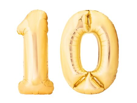 Photo pour Number 10 ten made of golden inflatable balloons isolated on white background. Helium balloons ten 10 number. Discount and sale or birthday concept - image libre de droit