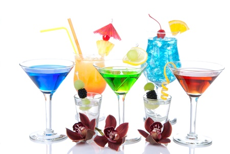 Popular alcohol cocktails composition. Different types of cocktail drinks Blue hawaiian, mai tai, tropical  Martini, tequila shot , margarita, orchid, cherry, lime, lemon isolated on a white background