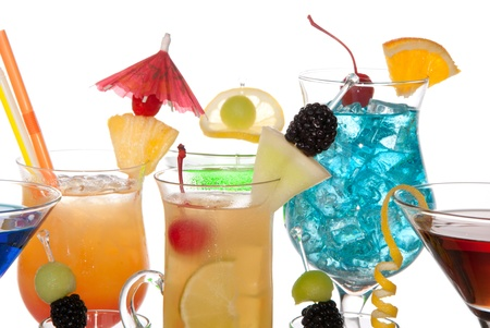 Popular alcoholic cocktails composition. Many cocktail drinks Blue hawaiian, mai tai, tropical  Martini, tequila sunrise, margarita, decorated orchids, cherry, lime, lemon, straw, umbrella isolated on a white background