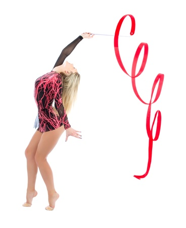 Photo pour Slim flexible woman rhythmic gymnastics art isolated on a white background - image libre de droit