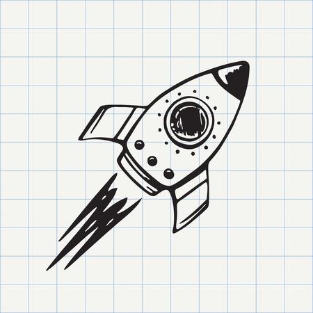 Illustration pour Rocket ship doodle icon. Hand drawn sketch in vector - image libre de droit