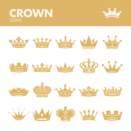 Illustration for Crown. Icons set in vector - Royalty Free Image