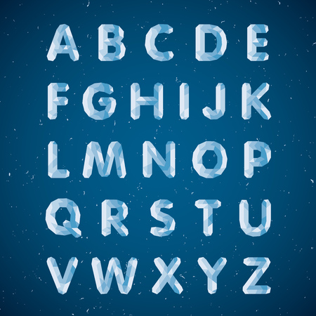 Illustration for Crystal alphabet. Capital letters. Ice font in vector - Royalty Free Image
