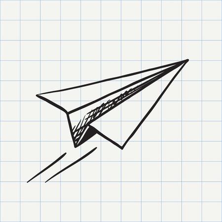 Illustration pour Paper plane doodle icon. Hand drawn sketch in vector - image libre de droit