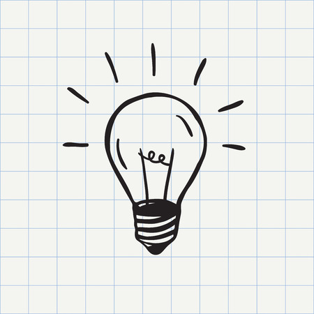 Illustration pour Light bulb icon idea symbol sketch in vector. Hand-drawn doodle sign - image libre de droit