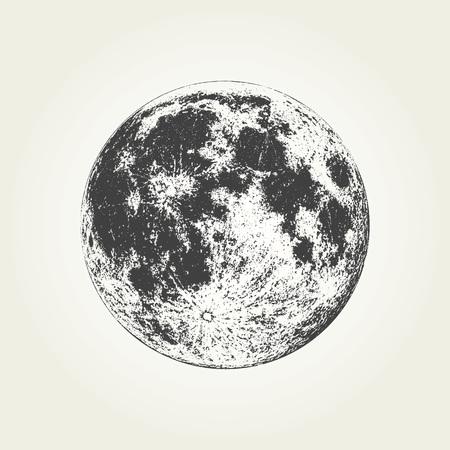 Ilustración de Realistic full Moon. Detailed monochrome vector illustration - Imagen libre de derechos