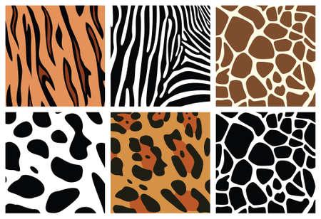 vector animal skin textures of tiger, zebra, giraffe, leopard and cow