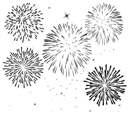black and white fireworks background