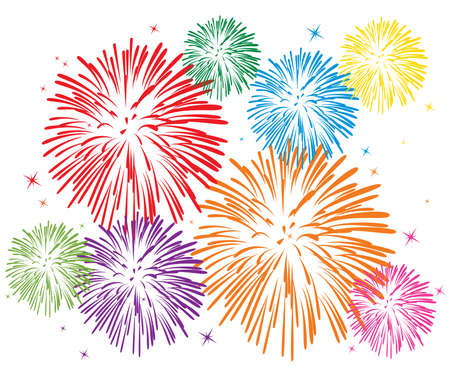 vector colorful fireworks on white background