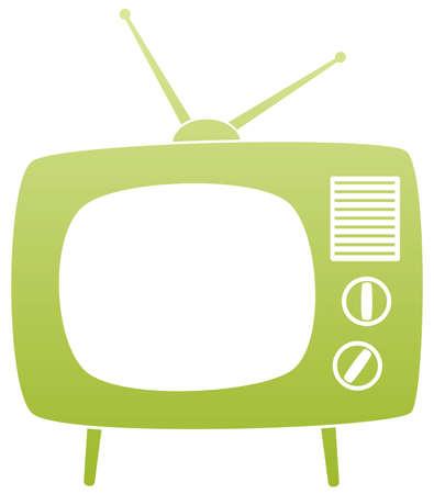Illustration for symbol of green retro tv set - Royalty Free Image