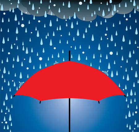 Illustration of umbrella protection from rain and hail
