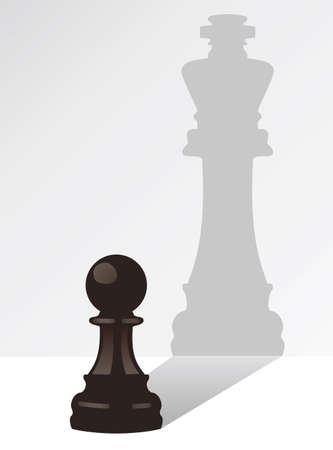Illustration for vector chess pawn with the shadow of a king - Royalty Free Image