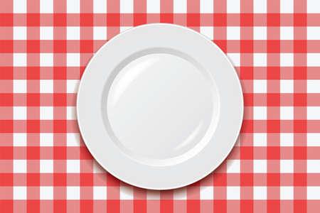Illustration pour vector red picnic cooking tablecloth and empty plate  - image libre de droit