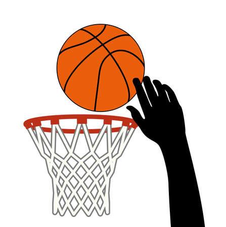 Ilustración de vector symbol of lucky shot of basketball ball through a hoop - Imagen libre de derechos