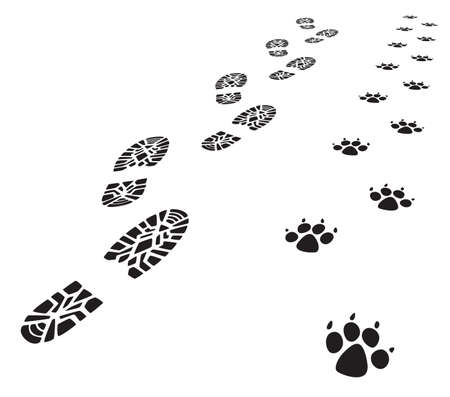 Ilustración de vector foot prints of man and dog  - Imagen libre de derechos