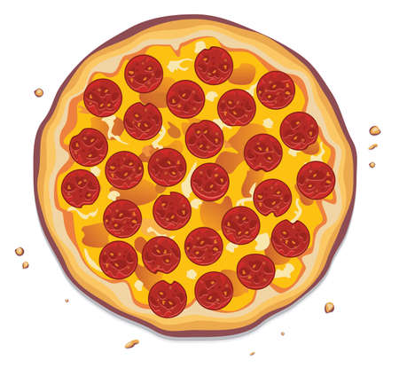 Foto für vector illustration of italian pizza with pepperoni slices - Lizenzfreies Bild