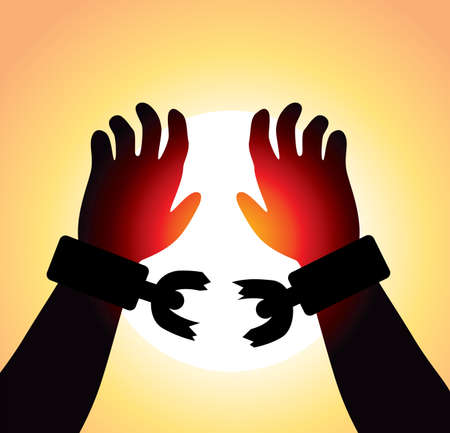 Illustration pour vector man's raised hands with broken chains - image libre de droit