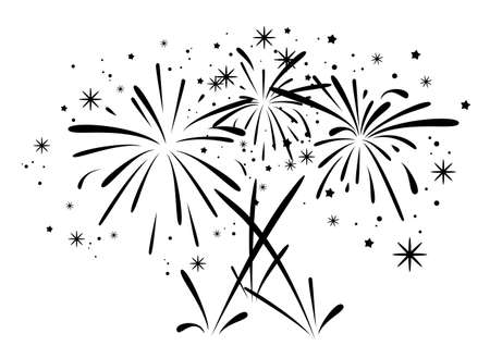 Foto für vector abstract black and white anniversary bursting fireworks with stars and sparks - Lizenzfreies Bild
