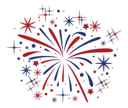 Ilustración de vector abstract anniversary bursting fireworks with stars and sparks on white background - Imagen libre de derechos