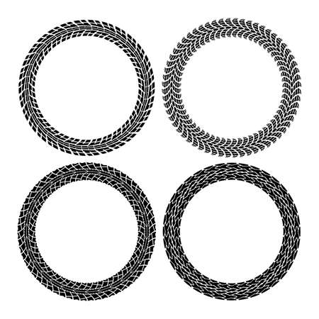Illustration pour vector set of round tire tracks. tractor and car circle patterns. design of tyre prints and copy-space for your text. black and white illustration - image libre de droit