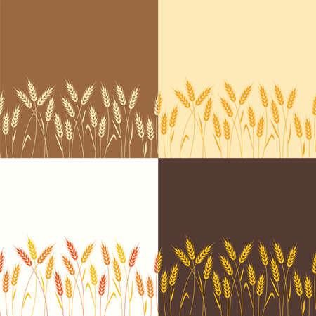 Ilustración de vector collection of seamless repeating wheat backgrounds - Imagen libre de derechos