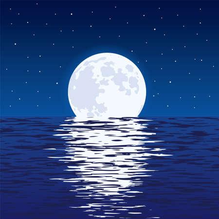 Ilustración de Light reflection of moonlight in wavy ocean water and stars in dark sky. - Imagen libre de derechos