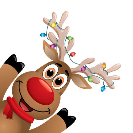 Illustrazione per Cartoon Rudolph deer with red scarf and Christmas lights on big horns. - Immagini Royalty Free