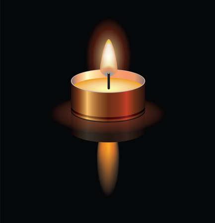 Ilustración de vector illustration of a small burning candle for christmas, spa, religious, memorial or funeral backgrounds. candle light reflection. eps10 - Imagen libre de derechos