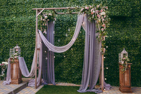 Photo for Decorated arches for the wedding romantic ceremony - Royalty Free Image