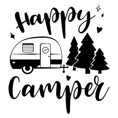 Illustration pour Happy Camper vector download. Mobile recreation. Happy Camper trailer in sketch silhouette style. - image libre de droit