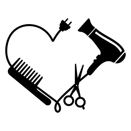 Illustration for Hairdresser logo vector: comb, hair dryer and scissors - Royalty Free Image
