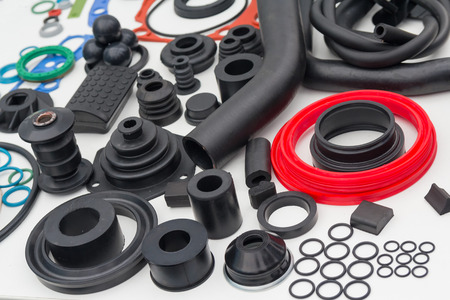 Photo pour Various rubber products and sealing products at the exhibition stand. Industry - image libre de droit