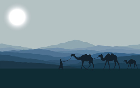 Illustration pour Caravan with camels in desert with mountains on background. Vector illustration - image libre de droit