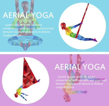 Aerial yoga flyers with woman silhouette Vector illustration.