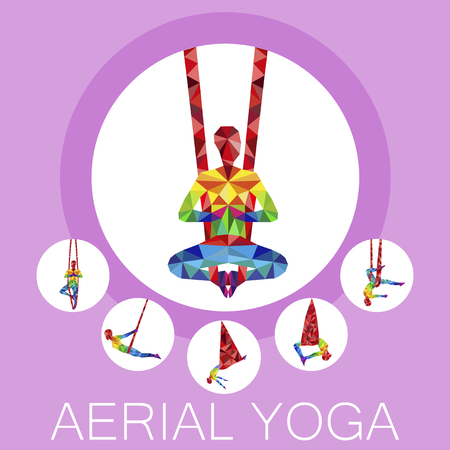 Aerial yoga banner with woman silhouette Vector illustration.