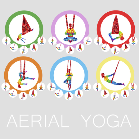 Aerial yoga icons with woman silhouette