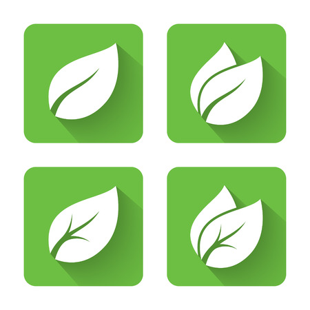 Illustration for Flat leaves icons. Vector illustration - Royalty Free Image