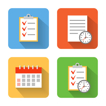 Photo pour Flat schedule icons. Vector illustration - image libre de droit