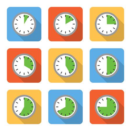 Illustration pour Flat time interval icons with long shadows. Vector illustration - image libre de droit