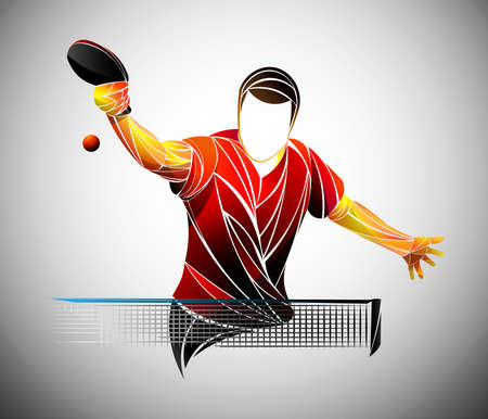 Ilustración de table tennis, ping pong, table tennis, Player, athlete, game, vector - Imagen libre de derechos