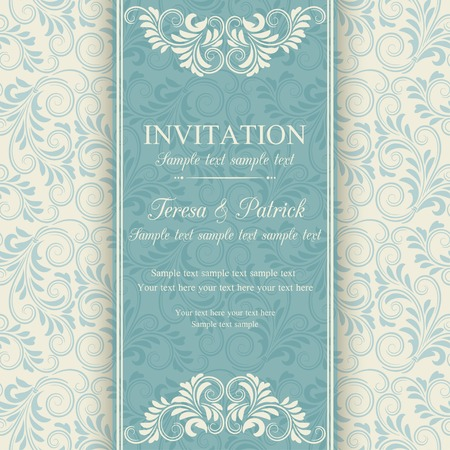 Illustration pour Antique baroque invitation, blue on beige background - image libre de droit