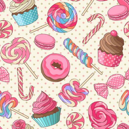Illustration pour Yummy colorful sweet lollipop candy macaroon cupcake donut seamless pattern, yellow - image libre de droit