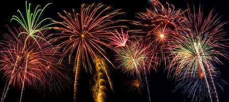 Beautiful fireworks fill the night time sky