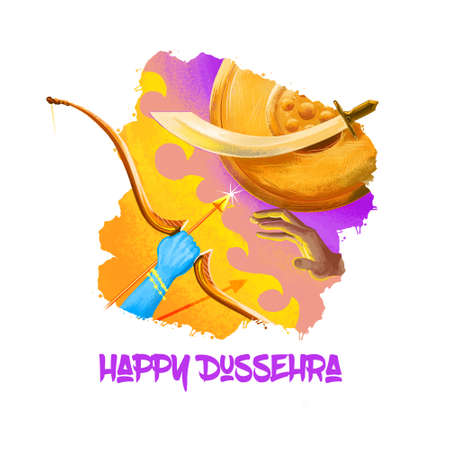 Foto de Digital art illustration for indian holiday Vijayadashami. Happy Dussehra writing. God Rama with bow, arrows fighting against evil demon Ravana. Dasara hindu festival graphic clip art design drawing - Imagen libre de derechos